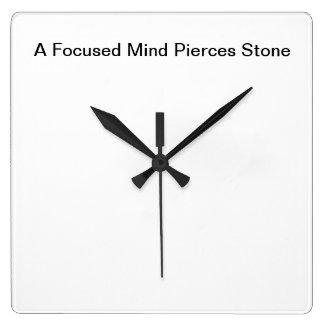 Motivación Wallclock: Una mente centrada perfora l Reloj Cuadrado