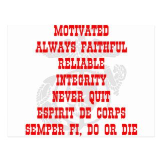 Motivado, siempre fiel, confiable, integridad, N Postal