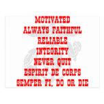 Motivado, siempre fiel, confiable, integridad, N Tarjetas Postales