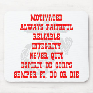 Motivated, Always Faithful, Reliable, Integrity, N Mouse Pad