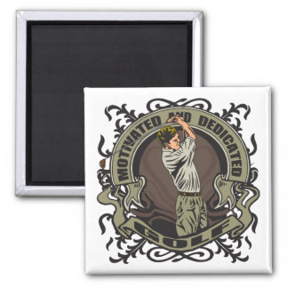 Motivated Golf 2 Inch Square Magnet