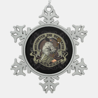 Motivated Lacrosse Snowflake Pewter Christmas Ornament