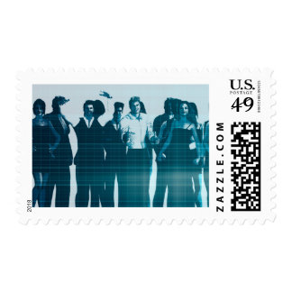 Motivated Workforce and Staff Employees Smiling Postage