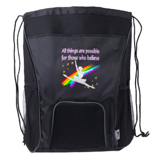 MOTIVATING ALL THINGS ARE POSSIBLE DANCER DESIGN DRAWSTRING BACKPACK