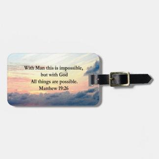 MOTIVATING SUNRISE MATTHEW 19:26 PHOTO DESIGN LUGGAGE TAG