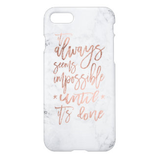 Motivation chic rose gold typography white marble iPhone 8/7 case