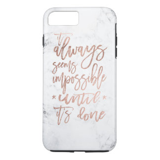 Motivation chic rose gold typography white marble iPhone 8 plus/7 plus case