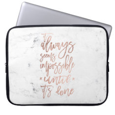 Motivation Chic Rose Gold Typography White Marble Laptop Sleeve at Zazzle