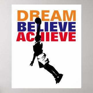 Motivation Dream Believe Achieve Basketball Poster