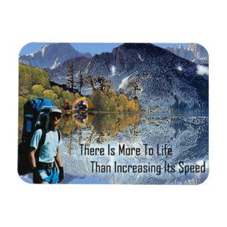 Motivation Magnet, Mountain Hiker Scene Rectangular Photo Magnet