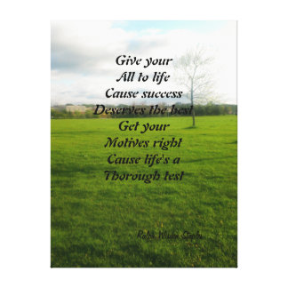 motivation on success stretched canvas print