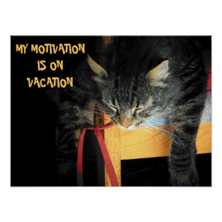 Motivation vacation Cat Meme Poster