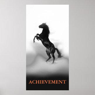 Motivational Achievement Black White Rearing Horse Poster