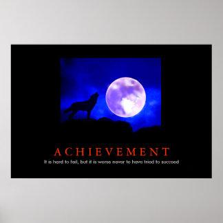 Motivational Achievement Wolf Blue Moon Poster