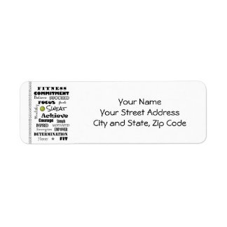 Motivational and Inspirational Fitness Typography Return Address Labels