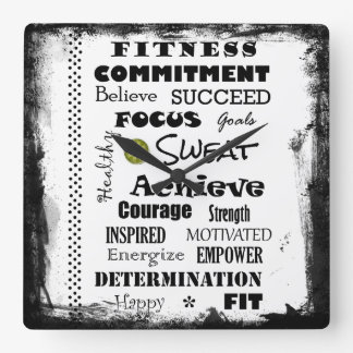 Motivational and Inspirational fitness typography Square Wall Clock