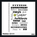 """Motivational and Inspirational Fitness Typography Wall Decal<br><div class=""""desc"""">Motivational and Inspirational Fitness Typography merchandise. Fitness inspiration words include &#39;believe,  succeed,  focus,  sweat,  healthy,  fit,  happy,  motivated,  achieve,  commitment,  courage,  empower,  determination,  fitness,  energize and more. Great for the gym,  home,  dorm,  or anywhere you need a little inspiration.</div>"""