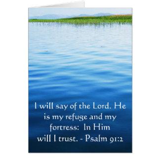Motivational. Bible Verse Psalm 91:2 Greeting Card