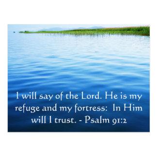 Motivational. Bible Verse Psalm 91:2 Postcard