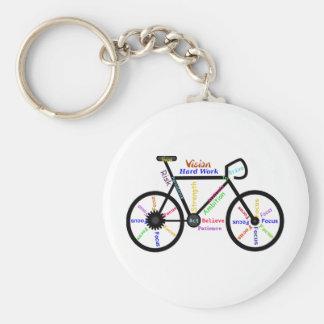 Motivational Bike, Cycle, Biking, Sport Words Basic Round Button Keychain