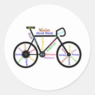 Motivational Bike, Cycle, Biking, Sport Words Classic Round Sticker