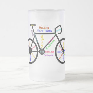 Motivational Bike, Cycle, Biking, Sport Words Frosted Glass Beer Mug