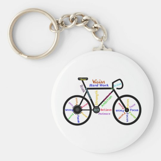 Motivational Bike, Cycle, Biking, Sport Words Keychain