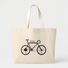 Motivational Bike, Cycle, Biking, Sport Words Large Tote Bag at Zazzle