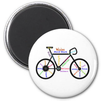 Motivational Bike, Cycle, Biking, Sport Words 2 Inch Round Magnet