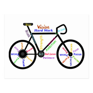 Motivational Bike, Cycle, Biking, Sport Words Postcard