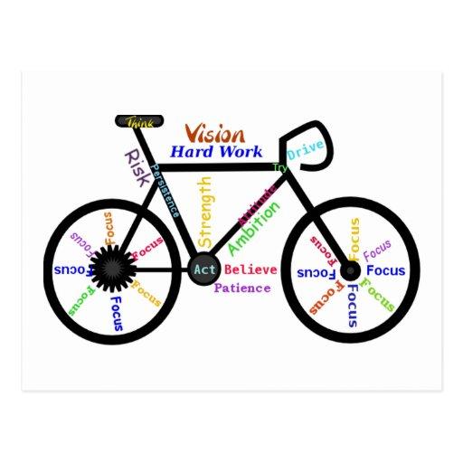 Motivational Bike, Cycle, Biking, Sport Words Postcard