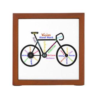 Motivational Bike Words for Sport Cycle Fans Desk Organizer