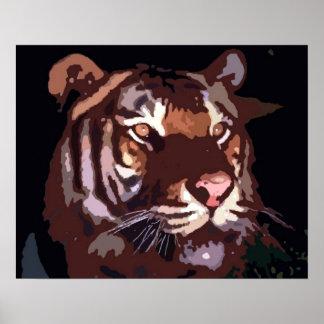 Motivational Blacklight Tiger Eyes Poster Print