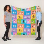 Motivational Characters Patchwork Pattern Fleece Blanket