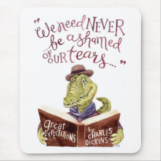 Motivational Charles Dickens Quote Watercolor Croc Mouse Pad