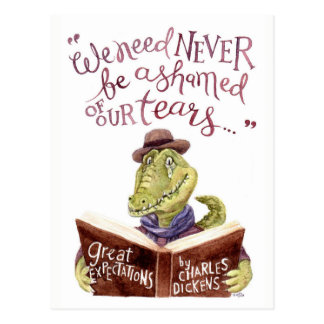 Motivational Charles Dickens Quote Watercolor Croc Postcard