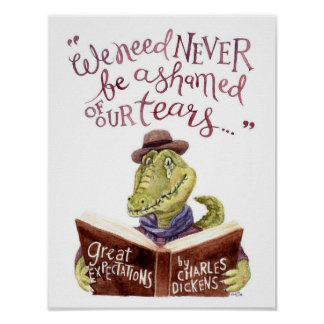 Motivational Charles Dickens Quote Watercolor Croc Poster