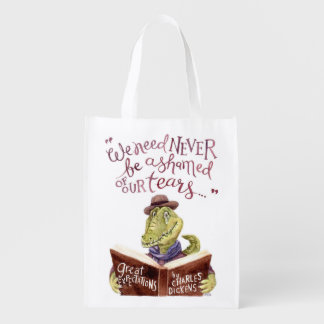 Motivational Charles Dickens Quote Watercolor Croc Reusable Grocery Bag