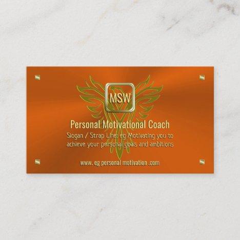 Motivational Coach, Golden Square, Orange, Phoenix Business Card