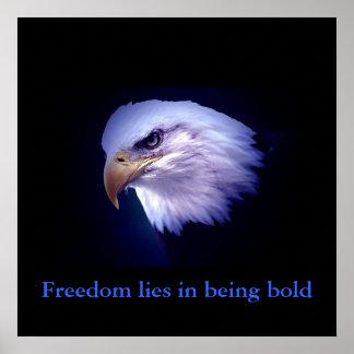 Motivational Courage Eagle Eyes Blue Poster