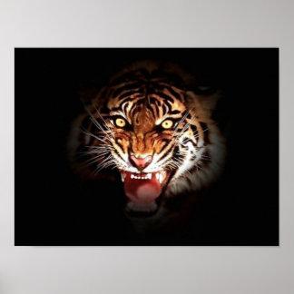 Motivational Courage Roaring Tiger Poster