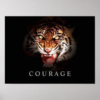 Motivational Courage Roaring Tiger Poster Print