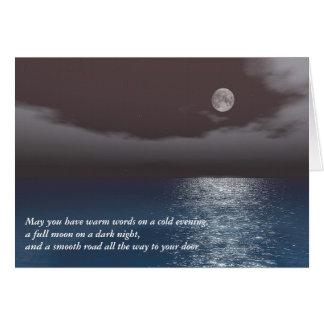 Motivational Dark Red Night Sky Moonlight Sea Card
