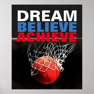 Motivational Dream Believe Achieve Basketball Poster