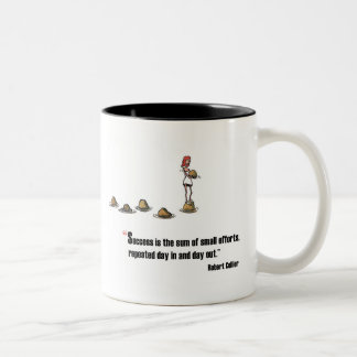 Motivational exam quote by Robert Collier Two-Tone Coffee Mug