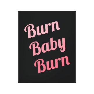 Motivational Fitness Burn Baby Black Pink Canvas Print