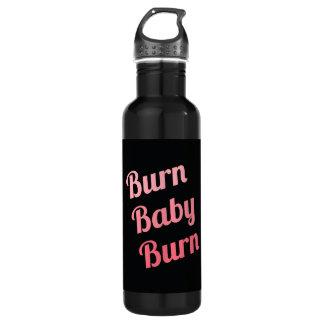 Motivational Fitness Burn Baby Black Pink Stainless Steel Water Bottle