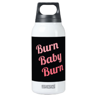 Motivational Fitness Burn Baby Black Pink Thermos Bottle
