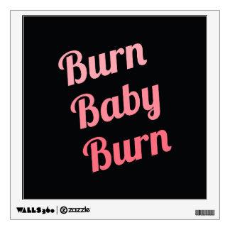 Motivational Fitness Burn Baby Black Pink Wall Skins