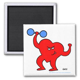 Motivational Fitness Cartoon Exercising Heart Magnet